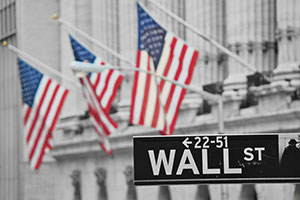 Wall street sign - American flags