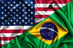 USA and Brazilian Flags