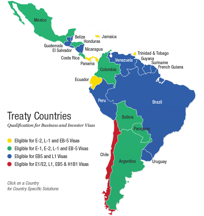 Treaty Countries - Qualification for Business and Investor Visas