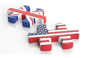 USA and United Kingdom puzzle pieces