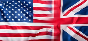 USA and United Kingdom flags