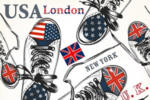 USA and United Kingdom shoes